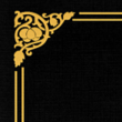 Black Linen - Gold Foil Floral Border