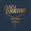 Nautical Blue Linen - Gold Foil Flourish