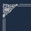 Nautical Blue Linen - Silver Foil Floral Border
