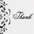100lb. Bright White - Black Floral Thank You