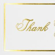 100lb. Bright White - Gold Foil Embossed Thank You